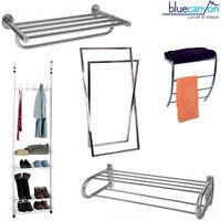 Chrome Towel Rack Wall Rail Bar Room Kitchen Bathroom Tidy Shelf BLUE CANYON New