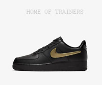 Nike Air Force 1 '07 LV8 3 Black Black Gold Swoosh Pack Men's Trainers All Sizes