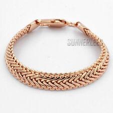11mm Fashion Jewelry Men Women Popcorn Link Chain 18K Rose Gold Filled Bracelet
