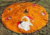 "Vintage 1977 McCalls Felt & Sequins Christmas Tree Skirt 70"" GUC Santa Pony Drum"