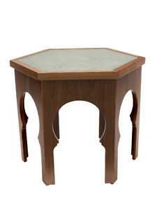 GUELIZ FLORA Wooden Coffee/Side Table with Glass - by Moroccan Bazaar