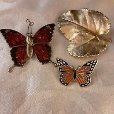 Vintage Enamel And Goldtone Butterfly And Leaf Brooches.     FS18