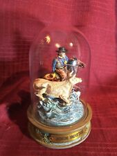 Franklin Mint Glassed Domed John Wayne Collectible.A4634 Cow Herding