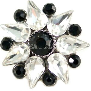 Black White Rhinestone Flower 20mm Snap Charm Button Jewelry For Ginger Snaps
