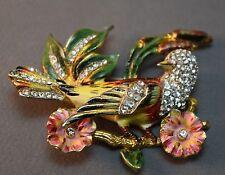 RARE Coro Craft Sterling Enameled Figural Bird & Flower Rhinestone Brooch! SUPER