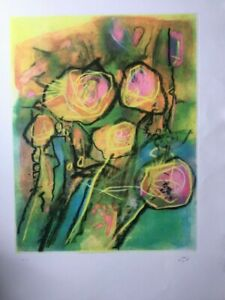 Roberto Matta - n.t. - very large etching in colors, hand painted with pastel