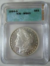 1884 O Morgan Silver Dollar - Graded by ICG MS 63