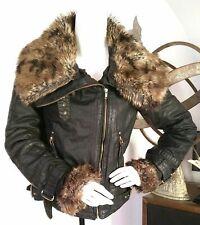 Topshop biker style cotton jacket with detachable faux fur collar UK size 10