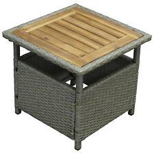 Gartentisch Beistelltisch Akazie/polyrattan grau 45x45cm