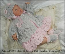 "BABYDOLL HANDKNIT DESIGNS KNITTING PATTERN F129 LACY SET 16-22"" DOLL 0-3M BABY"