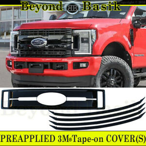2017 2018 2019 FORD F250 F350 XLT XL GLOSS BLACK Grille COVER OVERLAY INSERT 5Pc