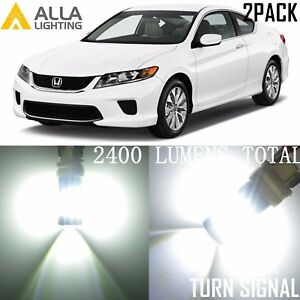 Alla Lighting Turn Signal Blinker Light Lamp White LED Bulb for Honda Accord, 2x