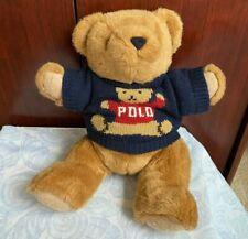 vintage 1997 ralph lauren polo teddy bear plush w/ jointed legs