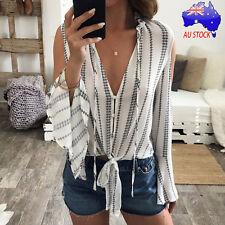Fashion Women Long Sleeve Striped Tops Chiffon Off Shoulder Loose Blouse Shirts