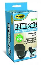 4 EZ Wheels Moving Cart Casters Furniture Universal Stick On Adhesive Desk Move