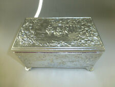 Vintage Swiss Music Box Silver Tone Metal Jewelry Play 2 Songs  (Watch Video)