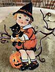 "Repro Vintage 1900s Boy Holds Cat JOL Halloween Cardstock Decoration, 8"" OR 10"""