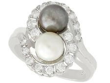 Perlas Cultivadas Y 0.95 CT Diamante, vestido de oro blanco 14 Ct Anillo-Vintage