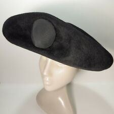 Vtg Laddie Northridge Hat Black Mod Platter Custom Made