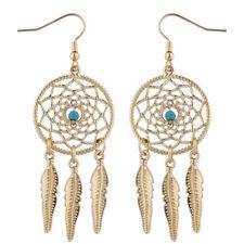 Faux Turq Dream Catcher Dangle Earrings Lux Accessories Gold Tone Boho Navajo