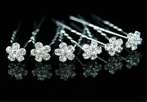 Rhinestone Crystal Diamante Flower Hair Pins Weddings Bridal Party Gifts