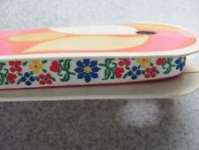 8 Yd Vintage Wrights Floral Red Blue Yellow 1974 Embroidery Trim Jacquard Ribbon