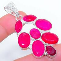 "Faceted Ruby Gemstone Ethnic Jewelryr Jewelry Pendant 2.3"" AK-3399"