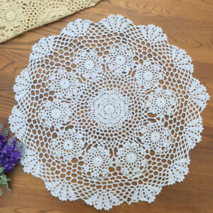 Tablecloth Doily Table Cloth Handmade Crochet Lace Cotton Cover Mat Round 50cm