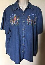 SOLUTIONS Casual Wear Short Sleeve 100% Cotton Button Down Denim Shirt    Size L