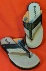Reebok Men's Flip Flop Thong Sandals Size 9M Black & Gray Cushioned