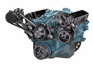 Black Pontiac Serpentine Pulley Conversion Kit Air Conditioning 350 400 428 455