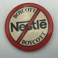 "1970's Boycott Nestle Breast Milk Substitutes 2-1/4"" Pinback Vintage Rare R3"