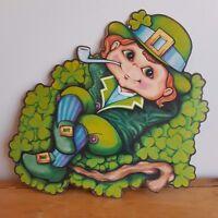 Vintage St. Patrick's Day Decoration Beistle Die Cut Leprechaun Clover Hat