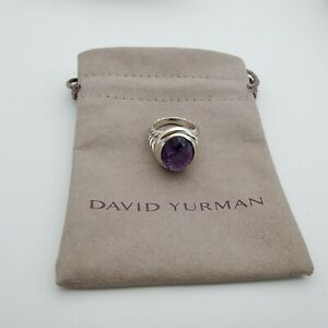 David Yurman Sterling Silver 925 Oval Ring Amethyst 13x18mm Size 7