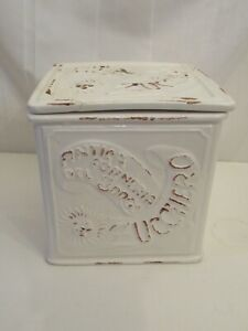 Lovely cream shabby chic sugar canister, food storage container, kitchen planter