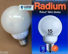2x 15 WATT ES RADIUM RALUX Mini Globe E27  SCREW Warm White energy saving bulb