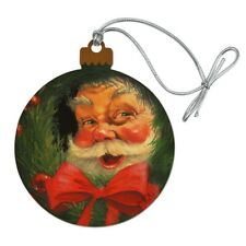 Christmas Holiday Santa Claus Wreath Wood Christmas Tree Holiday Ornament