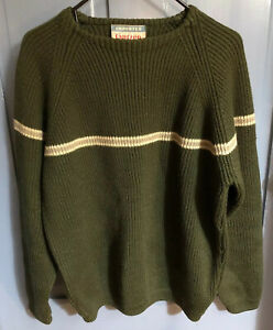 Vtg Jantzen Mens Sz M Pullover Green Virgin Wool Crewneck Sweater EUC