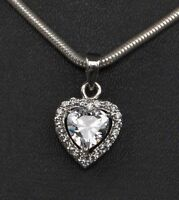 14KT White Gold Beautiful Heart Shape 2.60 Carat Solitaire With Accents Pendant