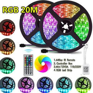 66FT RGB Strip Light 1200 LED Color Changing 3528 Flexible 44key Remote TV Bar