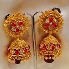 Bollywood Gimmiki Indian Designer Earrings Gold Pearls Jhumka Pink White F47