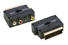 GOLD Scart AV Adaptor Adapter 3 Phono + SVHS S Video - SENT TODAY
