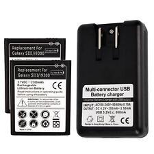 2x 2300mAh Battery + USB Charger for SamSung Galaxy S 3 III i535 T999 L710 i9300