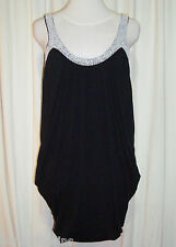 "SASS&BIDE BLACK RELAXED GATHERED DRESS 42/6 (AUS 12) ""BLAZING LIFE BEADED"""