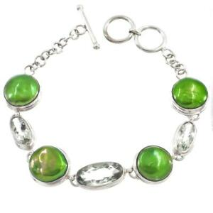 GREEN FRESHWATER COIN PEARL PRASIOLITE 925 STERLING SILVER bracelet