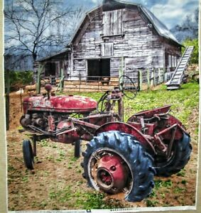 """1 Wonderful Large """"Farmall Tractor"""" Quilting/Wallhanging Sewing Fabric Panel"""