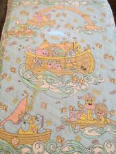 Vtg PreQuilted baby blanket cotton fabric Presious Moments Noahs Ark blue 34x44