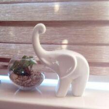 22 cm High White Ceramic Elephant Ornament  Home Decor Gift