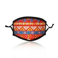 Ladies Red Aztec Cotton Face Mask Washable Reusable Adjustable Double Layer