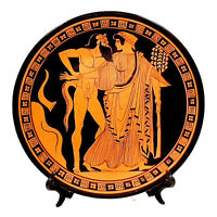 Greek Plate 24cm,Red Figure Pottery,showing Satyr & Maenad